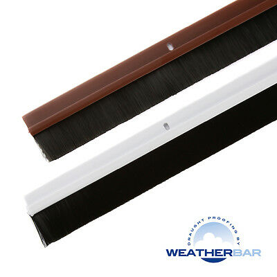 """Weatherbar Door Brush Draught Draft Excluder, 33/36"""" Lengths & Various Finishes"""
