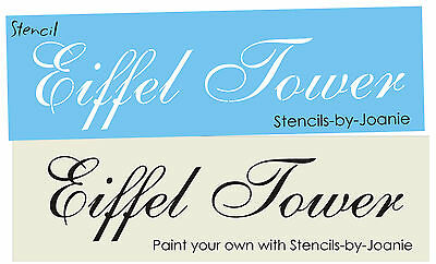 Lg. Stencil Chic Eiffel Tower Fancy French Script font Shabby Paris Craft Signs