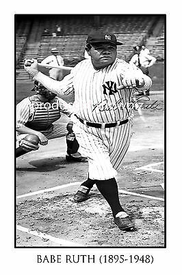 Babe Ruth Large Autographed Signed Poster Print  - Great Baseball Memorabilia