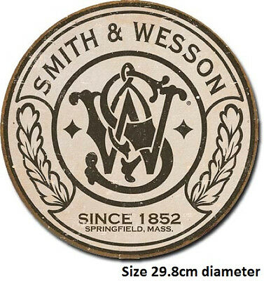 Smith & Wesson Logo  Round  Tin Sign 1608 Post 2-13 signs $15 flat rate.