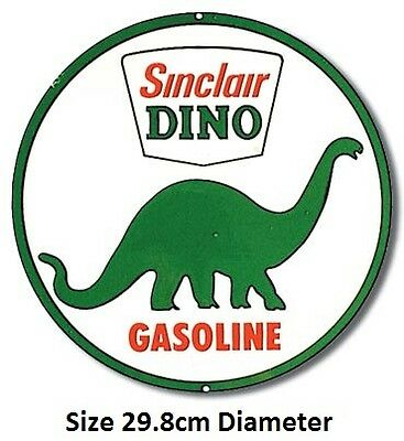 Sinclair Dino Gasoline Round Tin Metal Sign 207 Post 2-12 signs $15 flat rate.