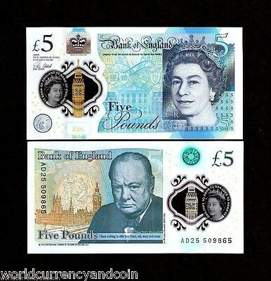 Great Britain 5 Pounds 2016 Polymer Qe Ii Queen Churchill Unc Money Uk Banknote