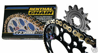 Renthal Chain And Black Sprocket Kit KX KXF 125/250/450/500 85-13 Motocross