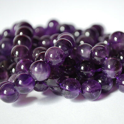 "Grade A Natural Amethyst (purple) Round Beads 16"" Strand 4, 6, 8, 10, 12mm sizes"
