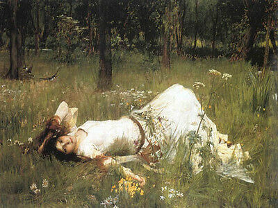 Waterhouse Ophelia In The Grass Canvas Giclee Sample Art Print 10X8
