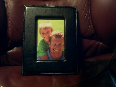 """4"""" x6"""" Euro Frame Leather Like Picture Photo Frame (Black)"""