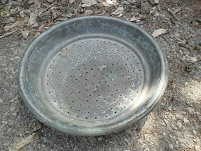 Vintage Antique authentic Arabic HandMade Large Tin Copper Strainer Colander