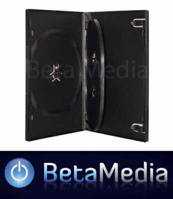 50 x Triple Black 14mm Quality CD / DVD Cover Cases - HOLDS 3 Discs