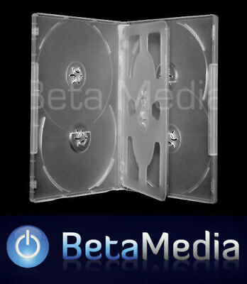 50 x Clear 14mm ** HOLDS 5 Discs ** Quality CD / DVD Cover Cases