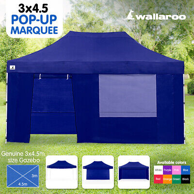 BLUE 3x6 WALLAROO POP UP OUTDOOR GAZEBO FOLDING TENT PARTY MARQUEE SHADE CANOPY