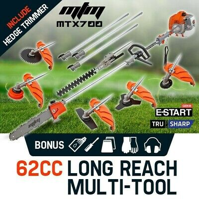 MTM 62cc Pole Chainsaw Saw Multi Tool Brush Cutter Brushcutter Hedge Trimmer