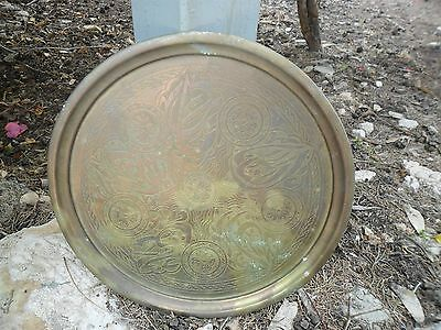 RARE Bronze Plate!!! Hand Hammer Engravings Antique Authentic Islam Holy Land