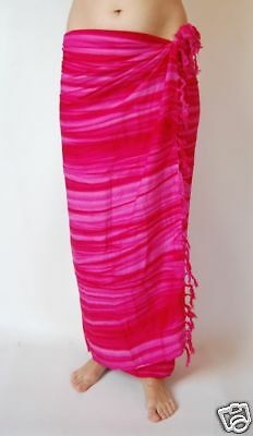 NEW HOT PINK FULL LENGTH SARONG BEACH WRAP SCARF PAREO ONE SIZE COVER UP / sa167