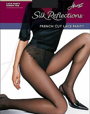 Hanes Hosiery Silk Reflections French Cut Lace Panty Control Top Pantyhose 3Pack