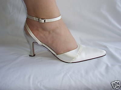 Ivory Satin Bridal Bridesmaid Wedding Shoe All Sizes Pure & Precious STERLING