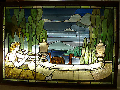 EXTREMELY RARE 18th / 19th CENTURY CLASSICAL STAINED GLASS WINDOW W/ HORN PLAYER • CAD $37,472.36