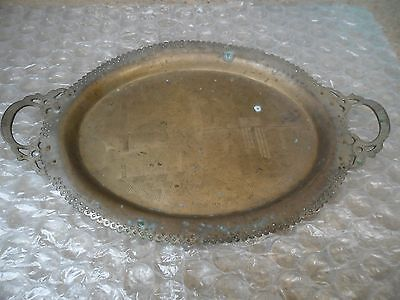 Vintage Antique Hand- Made Tray Handle Engrave Bronze Authentic Ottoman Turkish