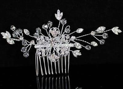Flower Clear Austrian Rhinestone Crystal Hair Comb Bridal Wedding Tiara C1359