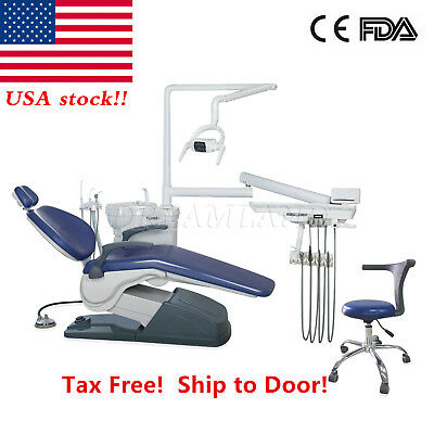 US to Door Dental Unit Chair Hard Leather Computer Controlled w/Adjustable Stool