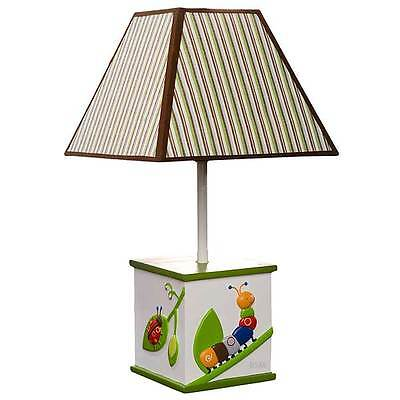 Cute as a Bug Lamp with Green, Brown and White Striped Shade and Bulb - Kidsline