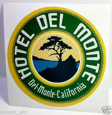 Hotel Del Monte, Vintage Style Travel Decal / Vinyl Sticker, Luggage Label