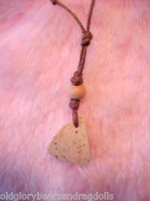 Triangular Pottery Pendant Necklace for Bear & Doll