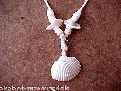 White Seashell Pendant Necklace for  Bears and Dolls