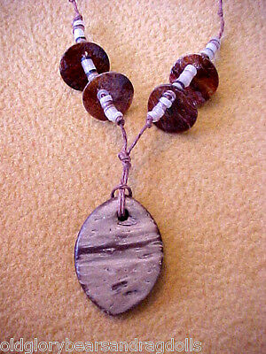Natural Coconut Shell Pendant Necklace for Bear & Doll