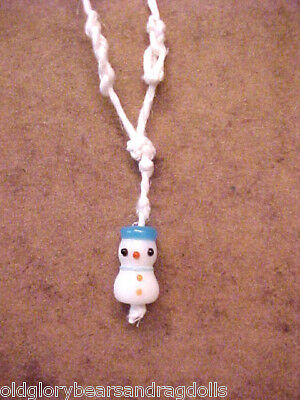 Snowman Pendant Necklace for a Small Bear or Doll