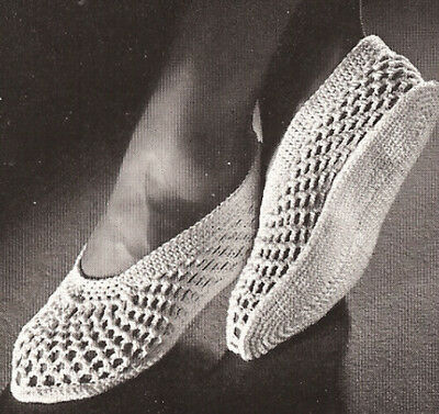 Vintage Crochet PATTERN to make Mesh Spa Slippers Shower Water Shoes