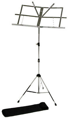 Music Stand Chrome Silver with Carry Bag *NEW* Adjustable Fold-up Student
