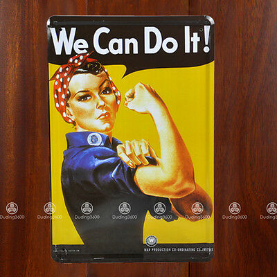 Tin Sign Wall Decor Retro Metal Art Poster We Can Do It Rosie the Rivetor WWII