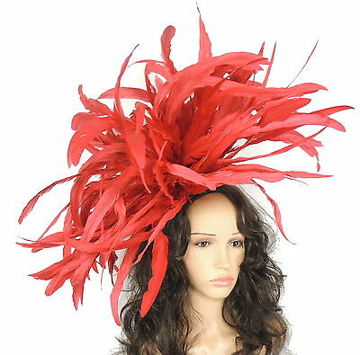 Very Large Feather Red Fascinator Hat For Weddings/Ascot/Proms With Headband F3