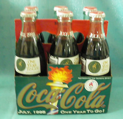Set Of 6 One Year To Go Atlanta Olympics Coke Coca Cola Bottles With Carrier