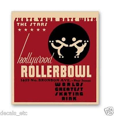Hollywood Rollerbowl, Vintage Style Travel Decal, Vinyl Sticker, Luggage Label