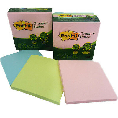 """12 Pads Post It Greener Notes 3""""x3"""" Pastel Pads Recycled Paper 900 Sheets #5416"""