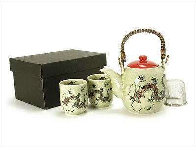 3 PCS. Japanese Tea Pot & Cups Set w/ Strainer Red Fortune Dragon, Made in Japan