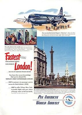 1949 Pan American Airlines Clipper Plane PRINT AD