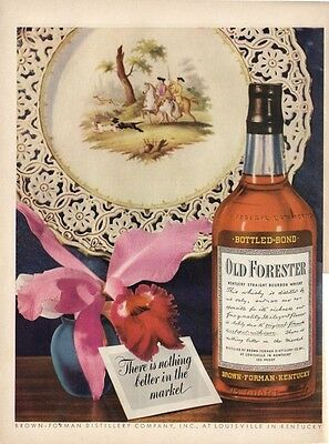 1943 Old Forester PRINT AD WWII era  orchid  glass platter deer hunting
