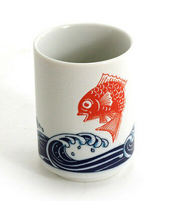 """Japanese 4""""H Porcelain Tea Sushi Coffee Cup """"Tai Fish Over Waves"""", Made in Japan"""