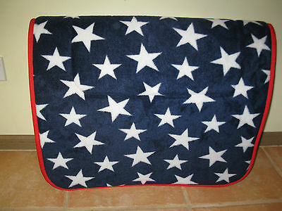 CAPRIOLE HORSE ACCESSORIES STARS/NAVY/RED SADDLE CLOTH SADDLE PAD 75 x 55cm pony