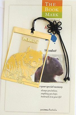 Australian Wombat Gold Plated Bookmark - Cello Wrapped