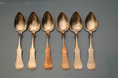 Geissler and Delang Set of 6 Large Coin Silver Spoons. Evansville, Indiana