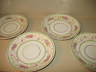 VINTAGE * IMPERIAL Crown China  Austria 4 SAUCERS Delicate Bone Pink Roses