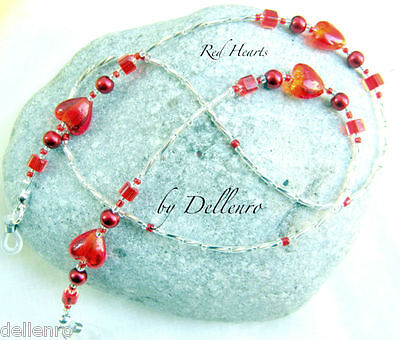 ✫Red Hearts✫ Beaded Eyeglasses Glasses Spectacles Chain Holder Cord
