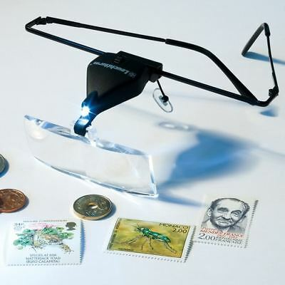 HANDS FREE SPECTACLES / MAGNIFIER GLASSES + LED LIGHT - 3 LENS 1.5x, 2.5x & 3.5x