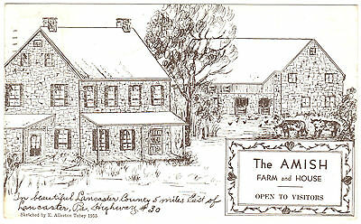 1956 The Amish Farm and House, Lancaster County, PA postcard