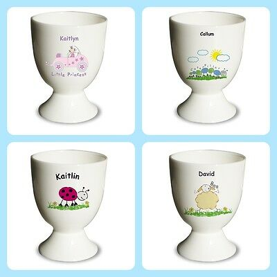 PERSONALISED EGG CUP Childrens or Baby Easter Gift Idea Christening boys girls