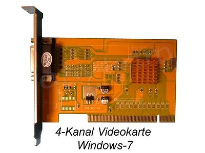 4-Kanal Videokarte 120fps 4x Video + 4x Audio Videocard f. PC Windows 7 XP WIN-7