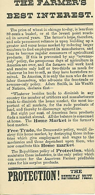 1884 Protection- the Republican Policy flyer- Farmer's